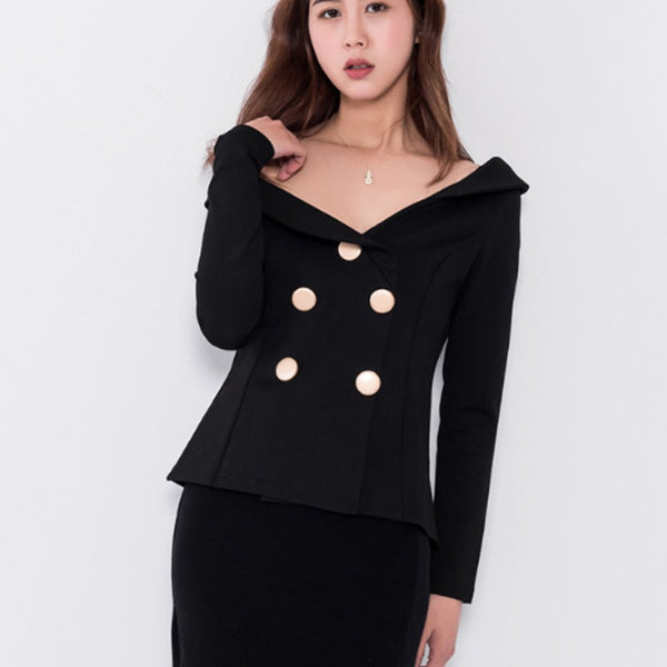 Spring Fashion Women Blazer Double Breasted Sexy Slash Neck Off Shoulder Female Slim Blazers Suit Jacket Outerwear