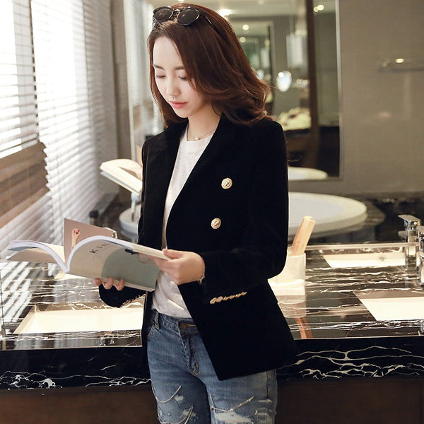 Spring Fashion Women Velvet Blazer Jackets Black Wine Red Gold Button Female Blazers feminino Casual Ladies Office Coat