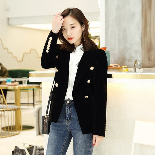 Spring Korean Fashion Double Breasted Velvet Blazer Women Slim Ladies Formal Blazers Long Sleeve Solid Casual Suit Coat