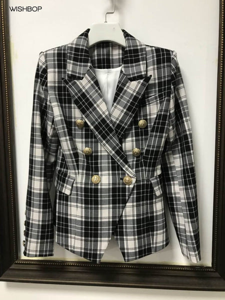 Spring Luxury Red Black Checked Blazer Double Breasted Gold Lion Buttoned up Long Sleeves cuff buttons With Pockets