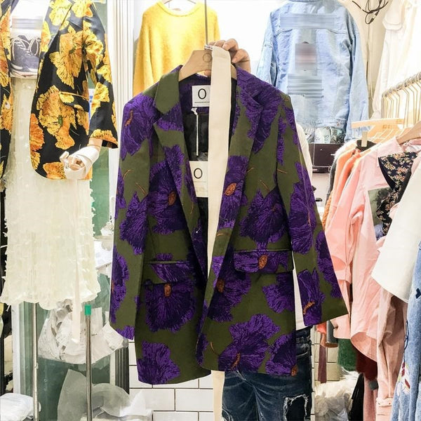 2020 Spring New Korean Floral Tunic Sashed Vintage Jackets Turn Down Collar Chic Women Blazers High Fashion Retro Oversize Coat
