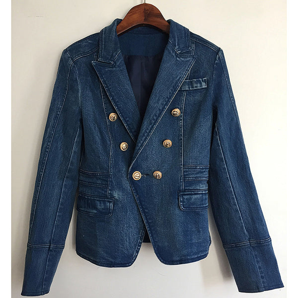 Spring New Women Navy Blue Denim Balzaer Female Double-breasted Slim Jeans Suit Vinatge Outwear