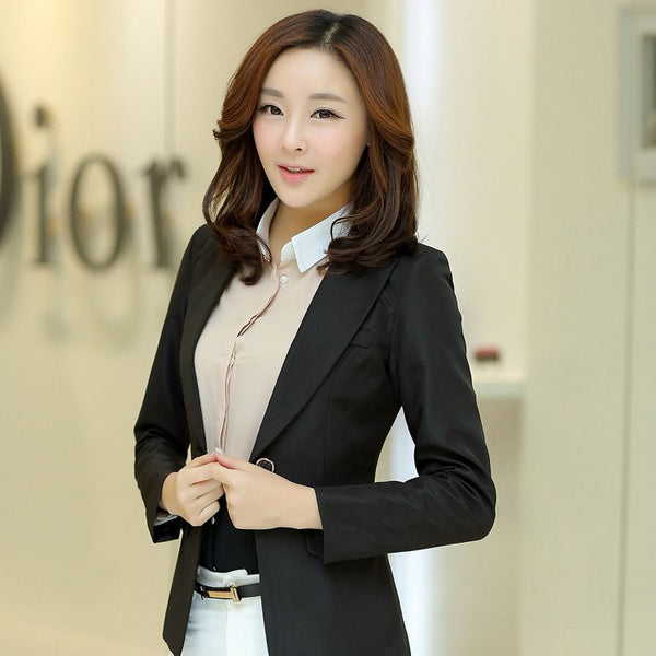 Spring Slim Women Blazers & Jackets Long Sleeve Work Wear Solid Small Suit Blazer Women's Casual Balck Tops