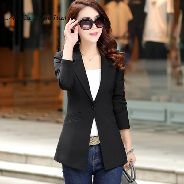Spring Summer Blazer Women New 4 Colors One Button Green Black White Jacket Womens Slim  England Blazers Feminino