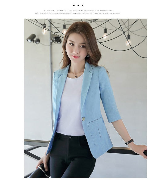 Spring Summer New Small Suit  Commuter One Buckle Blazer Jacket Office Lady Temperament Capable