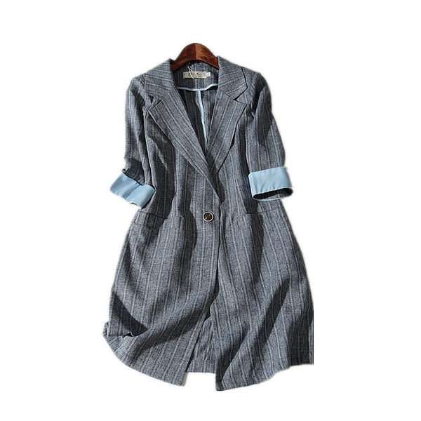 Spring Summer New Thin Slim Half Sleeve Plaid Casual Suit Jacket Women Long Blazer Linen Plus Size 3XL