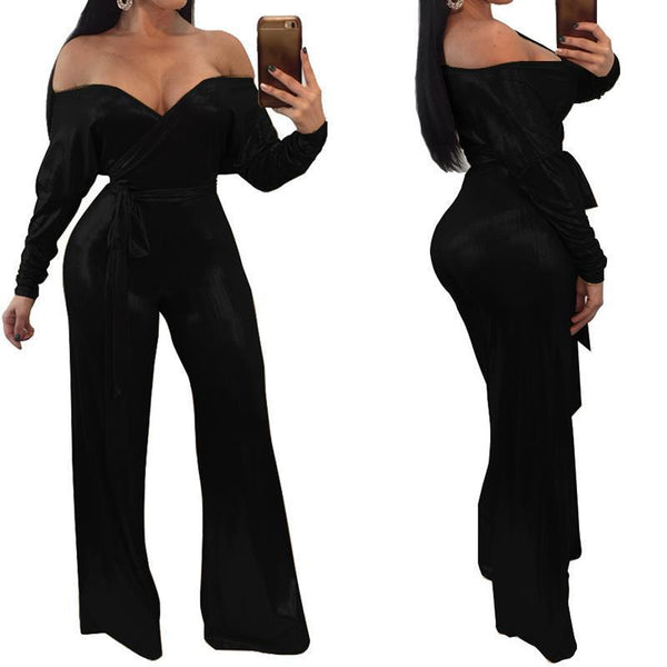 2020 Spring Women Jumpsuits Off Shoulder Rompers Elegant Work Office Overalls With Belt Long Sleeve Loose Outfit WS5490C