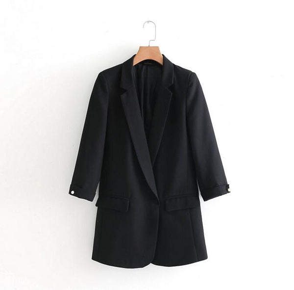 2020 Spring Women Oversized Office Jacket Blazers Three Quarter Sleeve Lady Loose Blazers Notched Collar Open Stitch Jacket