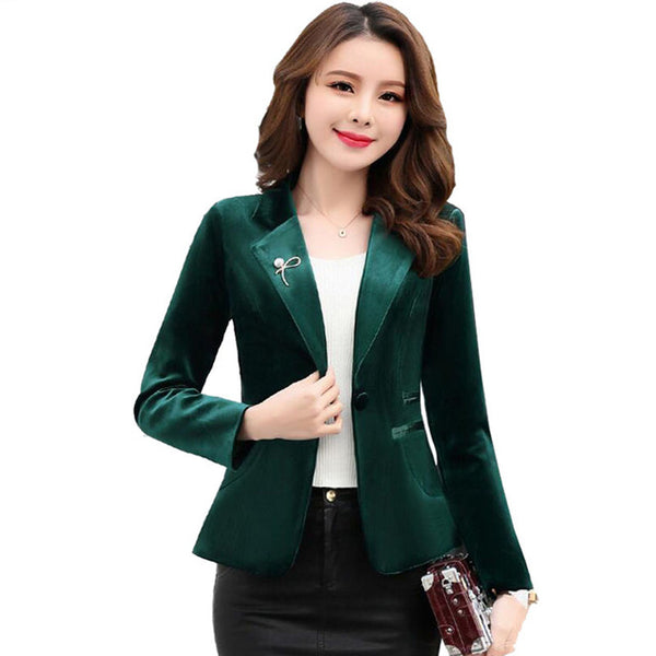 2020 Spring Women Velvet jacket  Formal Slim Velvet Blazer Long Sleeve Elegant Short Coat Red Green Blue Fashion Y1124