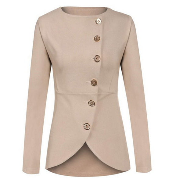 Spring and Autumn Women's Sexy Solid Work Office Small Suit No Collar 6 Button Solid Color Short Jacket Blazer & Suits