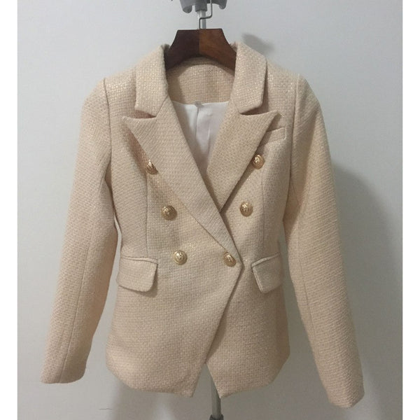 Spring high quality Newest Jacket Women Double Breasted Metal Lion Buttons Golden Slim blazer feminino