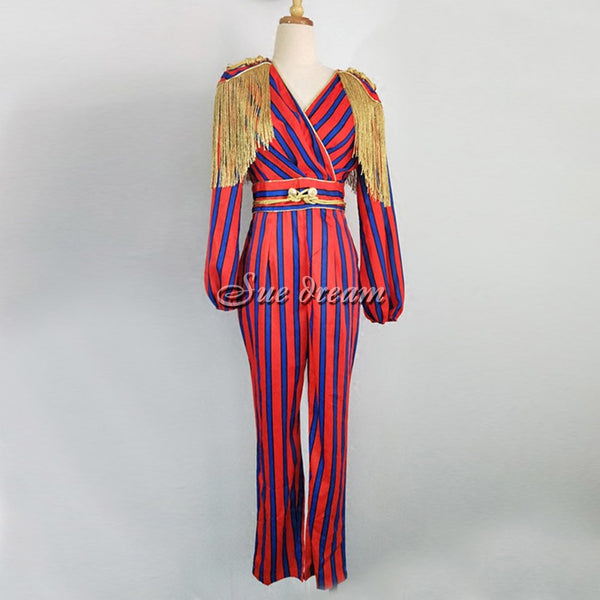 Spring new women long sleeves jumpsuit sexy regular striped tassel buttons celebrity party red jumpsuits wholesale vestido