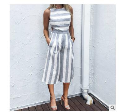 2020 Striped jumpsuit Rompers for Women Overalls Ladies Loose Calf Length Wide Pants for Woman Jumpsuits for Girls Cut-out Waist