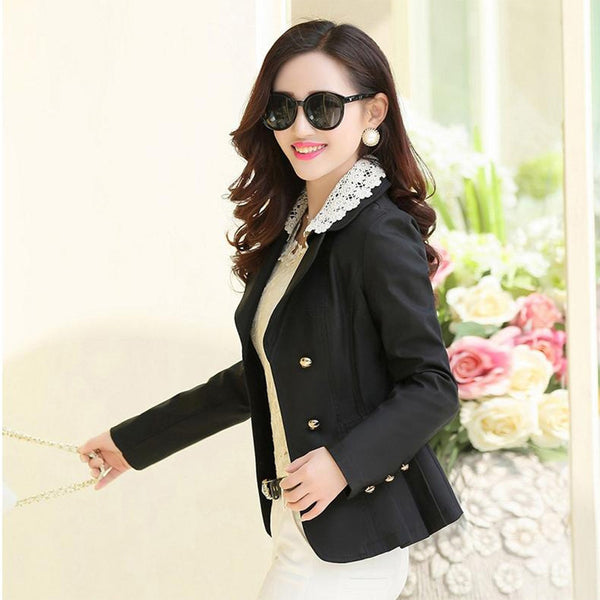 2020 Suit Jacket Women New Fashion Casual Short Blazer Women Suit Office Slim long-sleeve double-breasted Khaki Suits Blazer