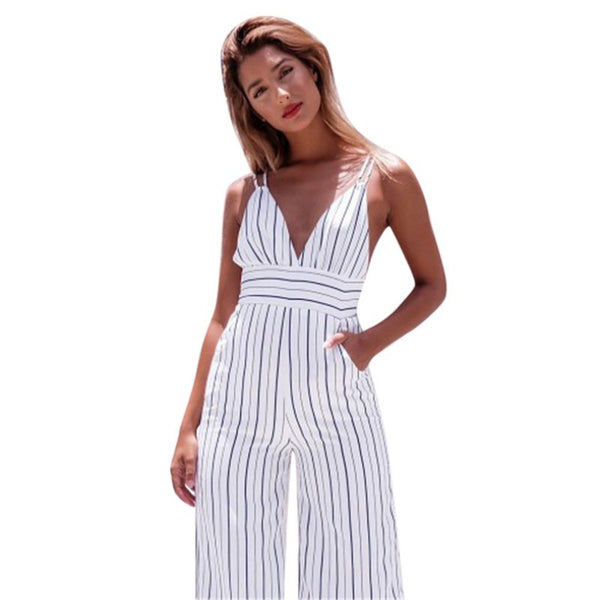 2020 Summer Backless Rompers Womens Striped print Jumpsuit Sexy Casual Elegant Sleeveless strap Long Trousers Overalls White
