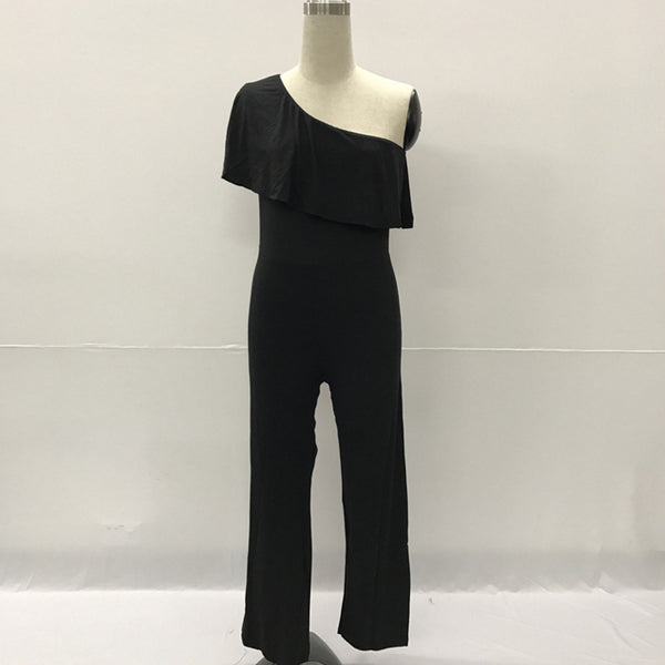 Summer Fashion brand one shoulder long pants Rompers Jumpsuit for Women 2020 Short Sleeve Ruffle sexy party Female Overalls
