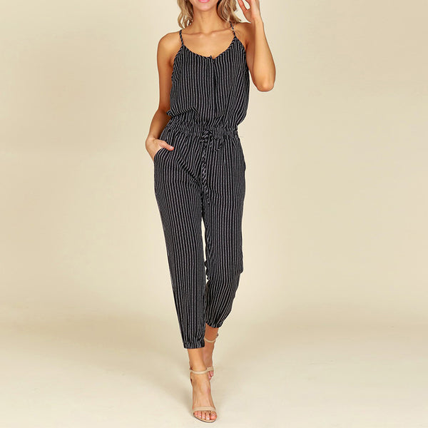 Summer ZNAZEA Rompers Women Striped Jumpsuits Casual Sleeveless Elastic Waist Strappy Bodysuits V Neck Long Playsuit S-5XL