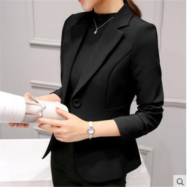 2020 Women Black Slim Fit Blazer Jackets Notched Office Work Blue Blazer Outfits Casual Tops Long Sleeve Outerwear Coats ZZ220