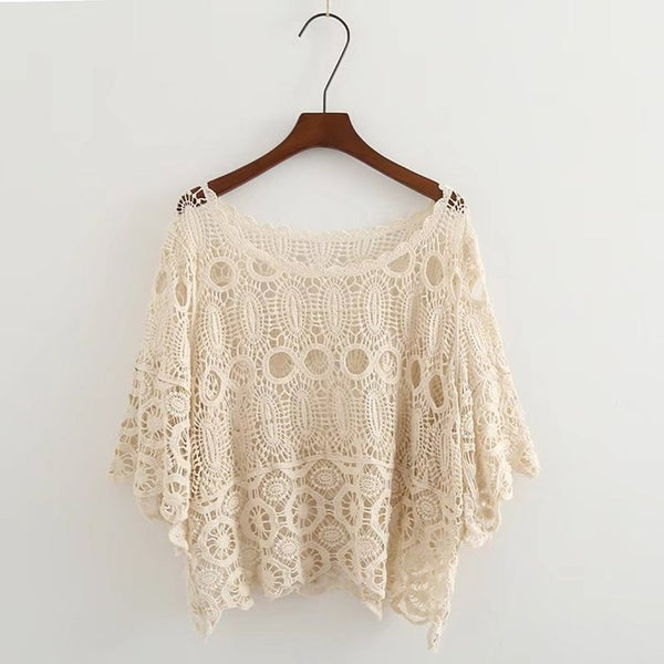 Women Cotton Blouses Hollow Out Sexy Women Lace Blouses Half Sleeve Boho Women Shirts White Khaki Summer Cover Up