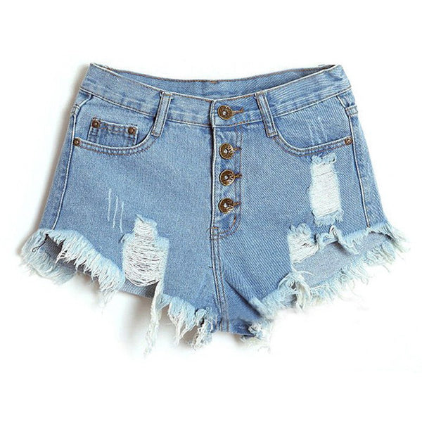 Women High Waisted Washed Ripped Hole Short Mini Jeans Denim Pants Shorts