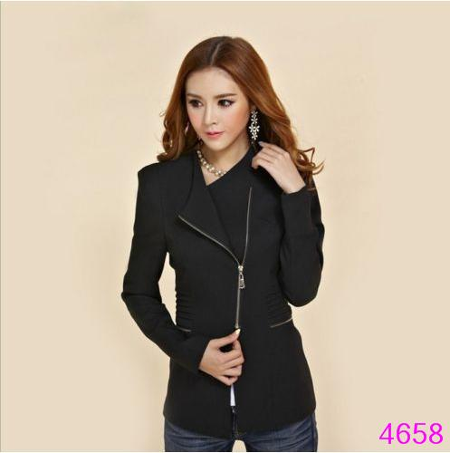 2020 Women Long Sleeve Zipper Suit Coat Neck Solid Casual Suit Jacket Blazer Tops