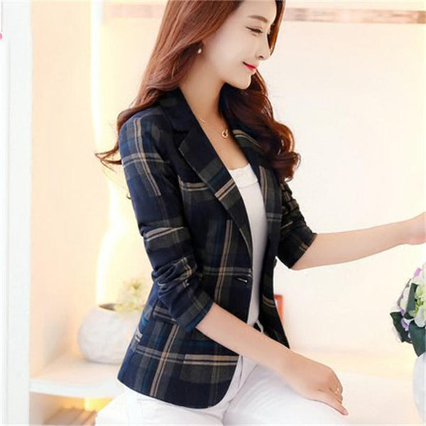 2020 Women Plaid Blazers and Jackets Suit Ladies Long Sleeve Work Wear Plus Size Casual Female Outerwear Wear to Work Coat New