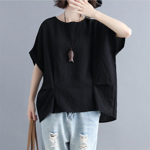 Women Solid Blouse Literary style Cotton And Linen Short Batwing Sleeves O-Neck Loose Shirt Office Lady Oversize Women Tops