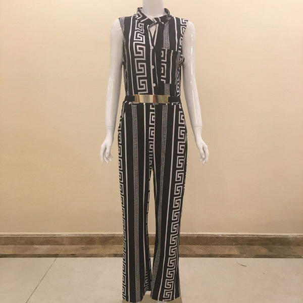 Women elegant Loose sexy Party Romper Sleeveless Long pant wide leg Jumpsuit fashion Striped print black white overalls hot