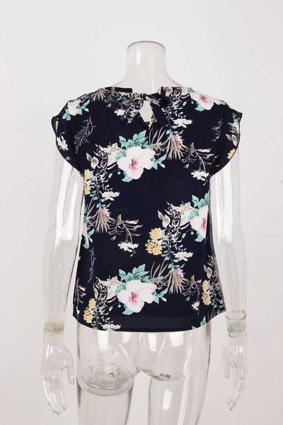 Women's Summer Floral Chiffion Blouse Ladies Casual Round Neck Cap Sleeve Pullovers Bohemian Print Shirts Chemise Femme