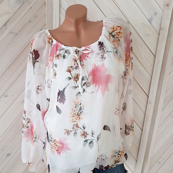 Womens Tops and Blouses Chiffon Floral Print Bow Shirt Plus Size Chiffon Blouse Women 5xl Long Sleeve Casual Tops