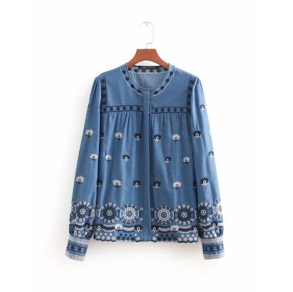 casual lady flower embroidery thin denim blouse fashion women o neck long sleeve shirt loose tops chemise blusas S3306