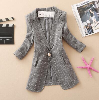 spring and summer new plaid small suit jacket ladies Slim casual short paragraph suit thin blazer jacket coat women