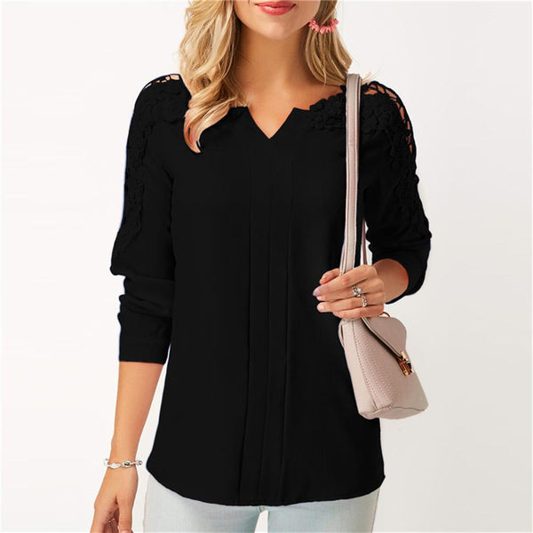 spring and summer women's fashion V-neck solid stitching lace long sleeved shirt Chiffon casual women's clothing Smerilli