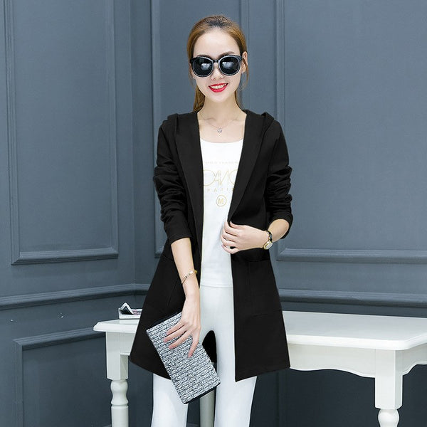 spring new women's long sleeves Suits jacket ladies blazers woman office jacket with Cap plus size Clothing