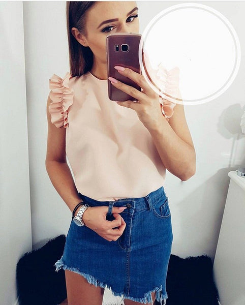 summer fashion women's solid color sleeveless shirts casual O-neck ruffled loose blouse chiffon tops