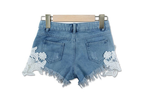 2020 summer lace hollow out sexy cowboy shorts female hot shorts Grunge style casual denim shorts white lace short pants woman