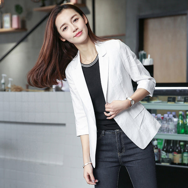 2020 summer plaid women coats short jackets casual suit blazers cardigan feminino white grey outwear blusa plus
