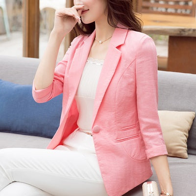 women's sleeves thin section short paragraph summer new linen casual Slim large size small suit