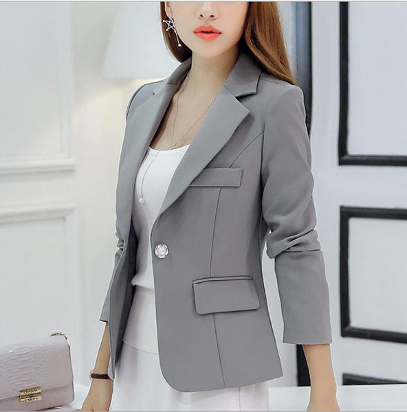 SpringAutumn Women Short Notched Collar Blazers Female Size S-2XL Single Button Cotton Office Lady Slim BlazersCQ1150