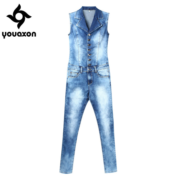 2043 Women`s Plus Size Brand New Fashion Blue Stretch Denim Skinny Slim Fit Pants Jumpsuit Jeans For Women Jean Overalls