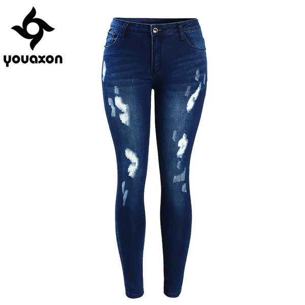 2053 Women`s Fashion Mid Waist Stretch Fading Blue Ripped Slim Denim Pants Jeans For Women