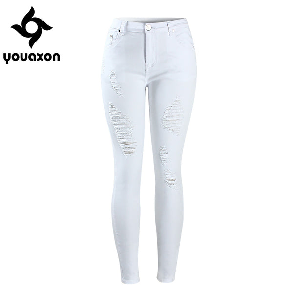 2067 Women`s Distressed Curvy White Mid High Waist Stretch Denim Pants Ripped Skinny Jeans For Woman Jean