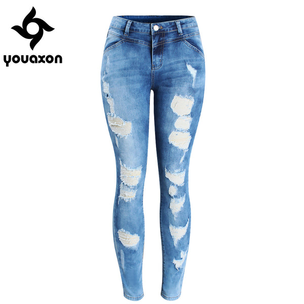 2080 Women`s Plus Size Brand New Fashion Mid Waist Ripped Stretch Skinny Pants Jeans For Women True Denim Jean