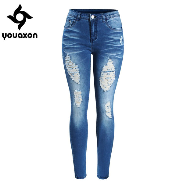 2081 Women`s Chic Distressed Plus Size Brand New Mid Waist Stretch Skinny Pencil Pants Jeans For Women True Denim Jean