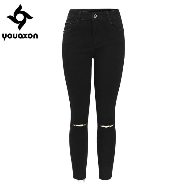 2104 Black Ripped Knees Cropped Jeans Women Mid Waist Stretchy Denim Pants Trousers For Woman Pencil Skinny Torn Jeans