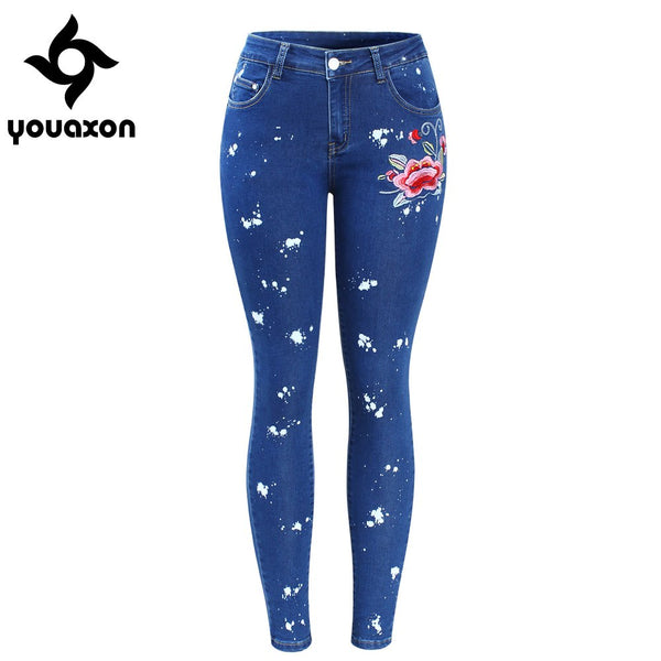 2108 Plus Size Floral Dirty Jeans With Embroidery Flower Women Stretchy Denim Pants Trousers For Woman Skinny Jeans