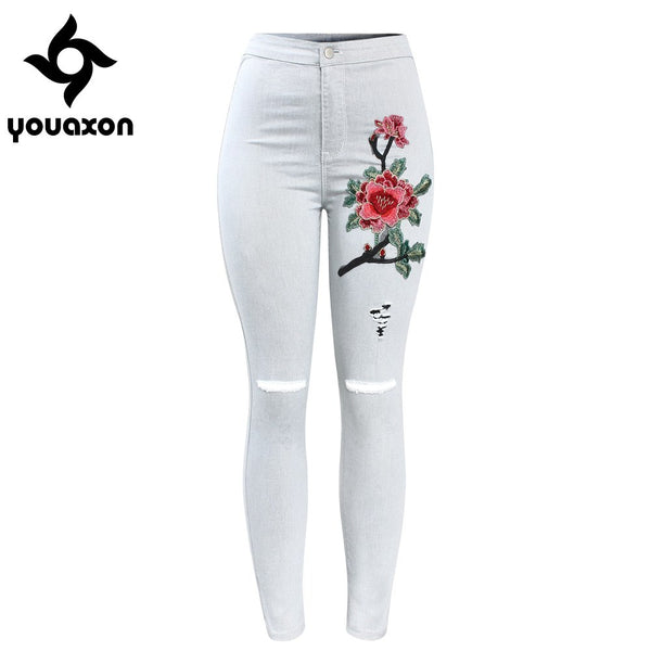 2112 High Waist Ripped Knees Floral Jeans With Embroidery Woman Stretchy Denim Pants Trousers For Women Skinny Jeans