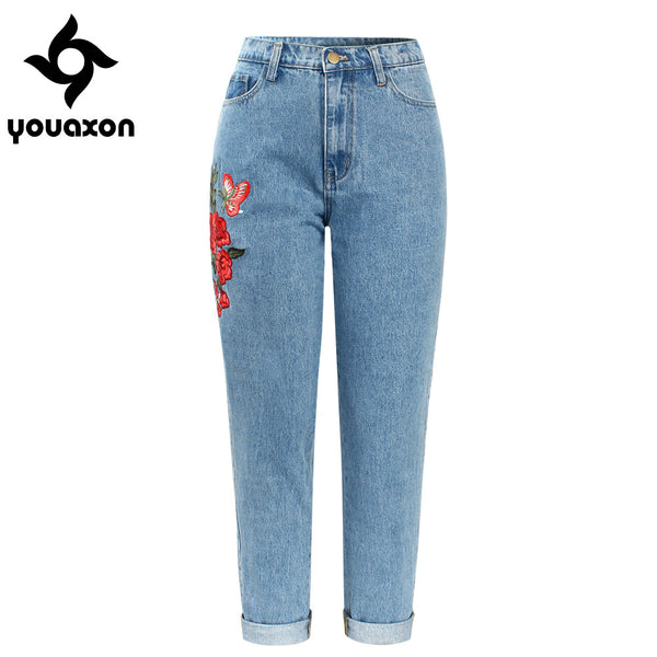 2121 High Waisted Boyfriends Mom Jeans With Embroidery Women`s New Vintage Denim Pants Jeans For Women Jean