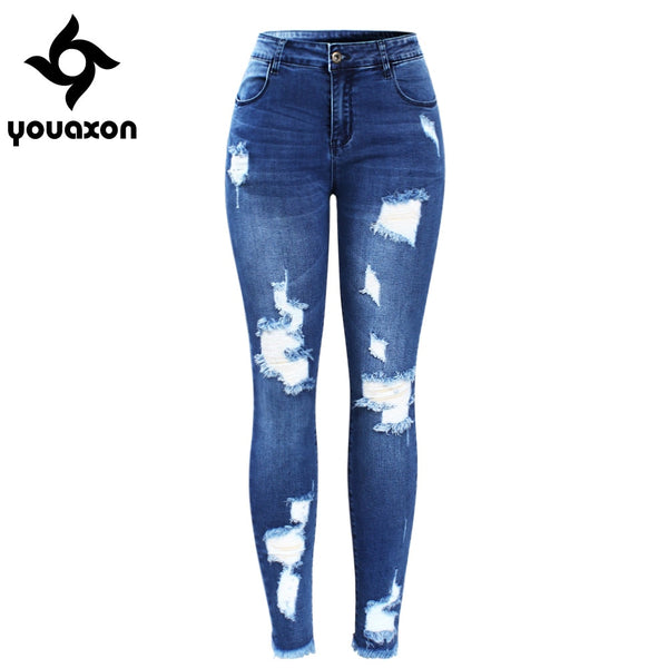 2127 New Ultra Stretchy Blue Tassel Ripped Jeans Woman Denim Pants Trousers For Women Pencil Skinny Jeans