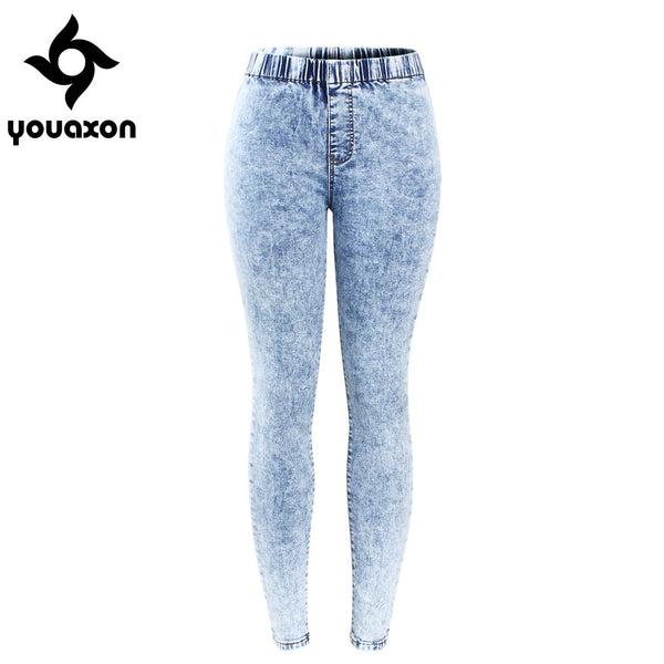 2129 New Plus Size Ultra Stretchy Acid Washed Jeans Woman Denim Pants Trousers For Women Pencil Skinny Jeans